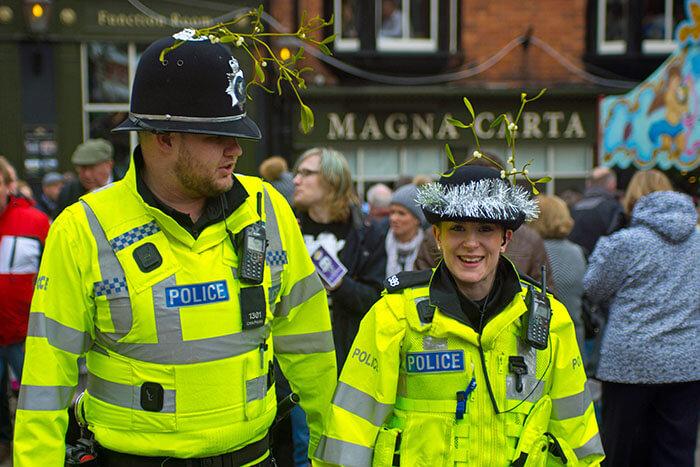 Smiling Policeman at Christmas