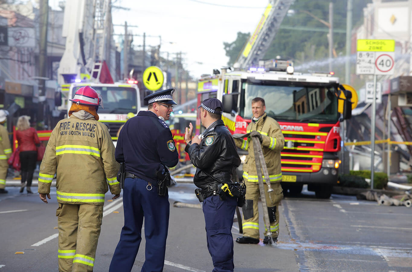 Police and Fire fighters attend blast explosion at shop